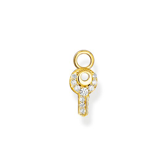 Single ear pendant key white stones gold from the Charming Collection collection in the THOMAS SABO online store