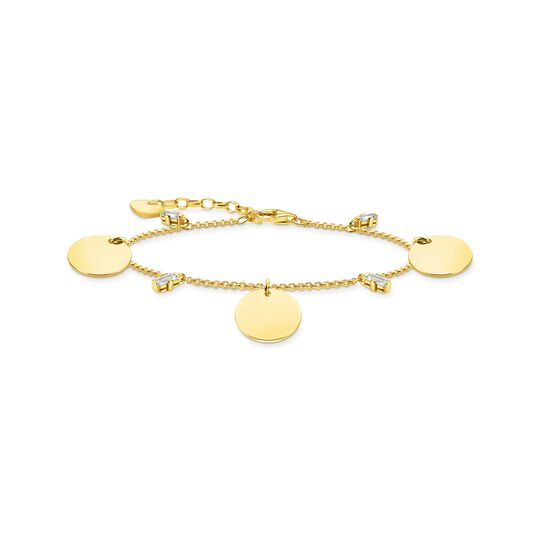 Bracelet wih three discs and white stones gold from the  collection in the THOMAS SABO online store