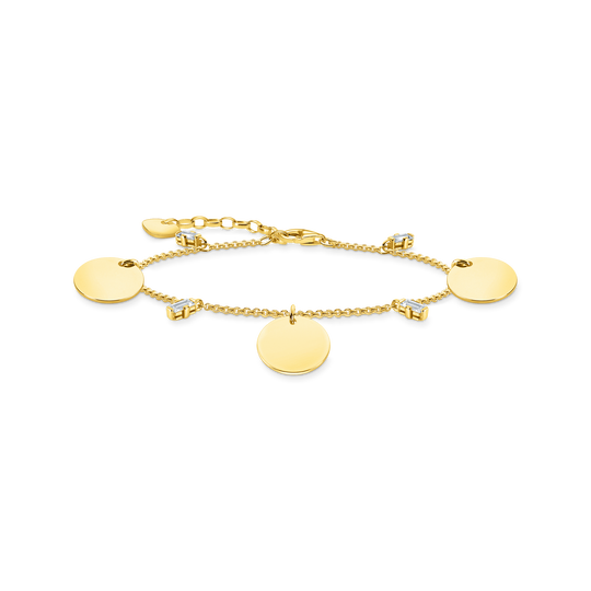 Bracelet wih three discs and white stones gold from the Glam & Soul collection in the THOMAS SABO online store