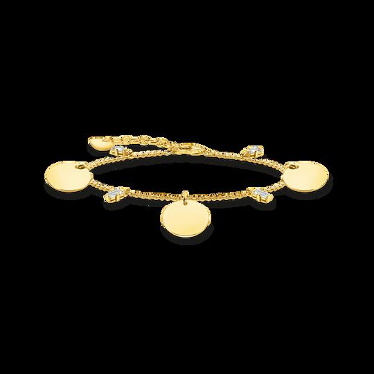 Armband mit drei Coins und weißen Steinen gold aus der Glam & Soul Kollektion im Online Shop von THOMAS SABO