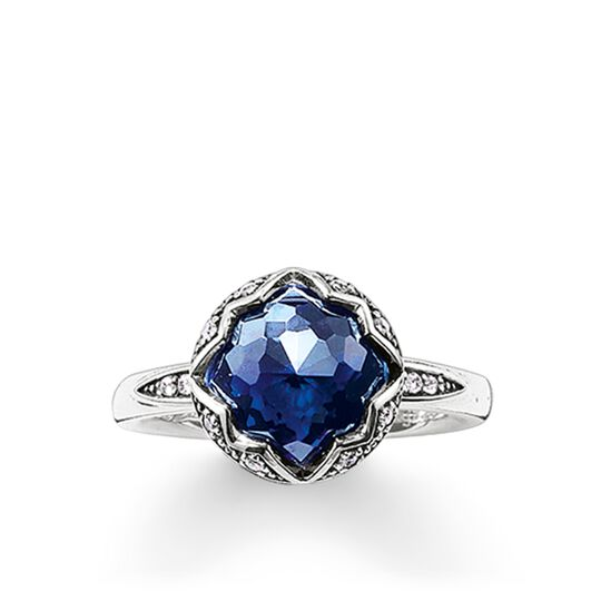 """solitaire ring """"dark-blue lotus"""" from the Glam & Soul collection in the THOMAS SABO online store"""