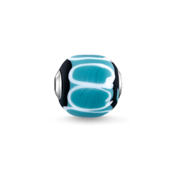 "Bead ""Bead in vetro Turchese, nero, bianco"" from the Karma Beads collection in the THOMAS SABO online store"