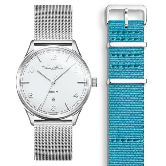 SET CODE TS white watch & turquoise strap from the  collection in the THOMAS SABO online store