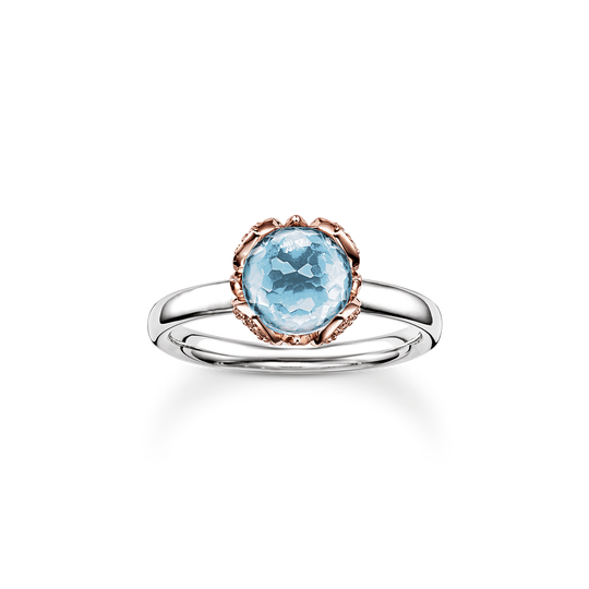 solitair ring blue Lotos Blossom from the Glam & Soul collection in the THOMAS SABO online store