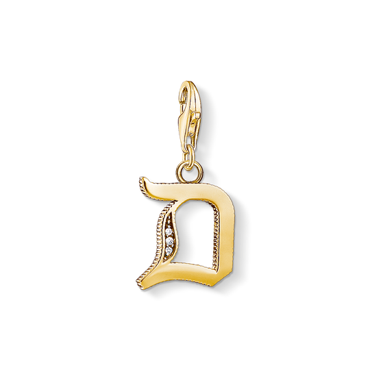 Charm pendant letter D gold from the Charm Club collection in the THOMAS SABO online store