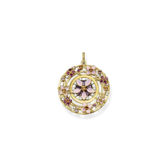 Pendant amulet flowers colourful stones gold from the  collection in the THOMAS SABO online store
