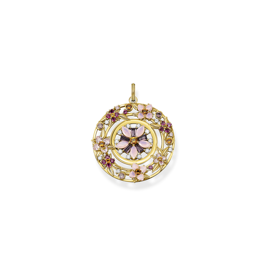 Pendant amulet flowers colourful stones gold from the Glam & Soul collection in the THOMAS SABO online store