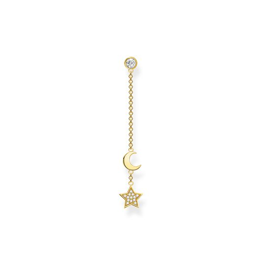 Single earring star & moon gold from the Charming Collection collection in the THOMAS SABO online store