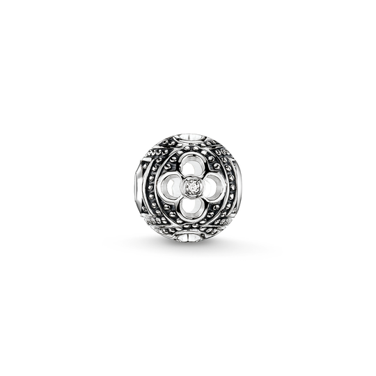 Bead black icy diamond flower from the Karma Beads collection in the THOMAS SABO online store
