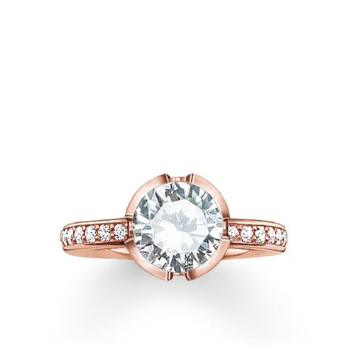 """solitaire ring """"Signature Line white pavé small"""" from the Glam & Soul collection in the THOMAS SABO online store"""