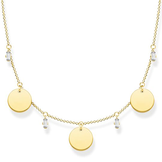 Necklace wih three discs and white stones gold from the  collection in the THOMAS SABO online store