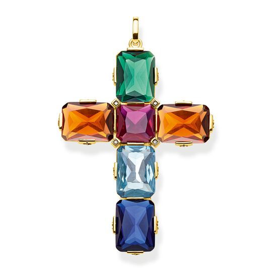 pendant Cross colourful stones, gold, large from the  collection in the THOMAS SABO online store