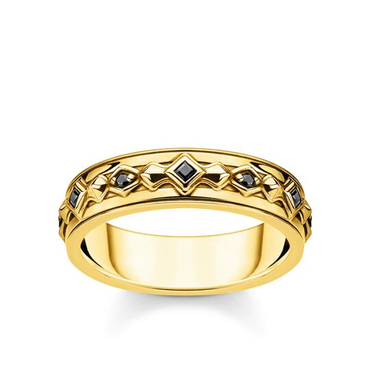 Ring black stones gold from the Rebel at heart collection in the THOMAS SABO online store