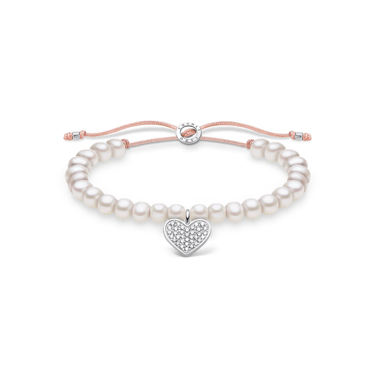Bracelet perles blanche cœur avec pavé de la collection Charming Collection dans la boutique en ligne de THOMAS SABO