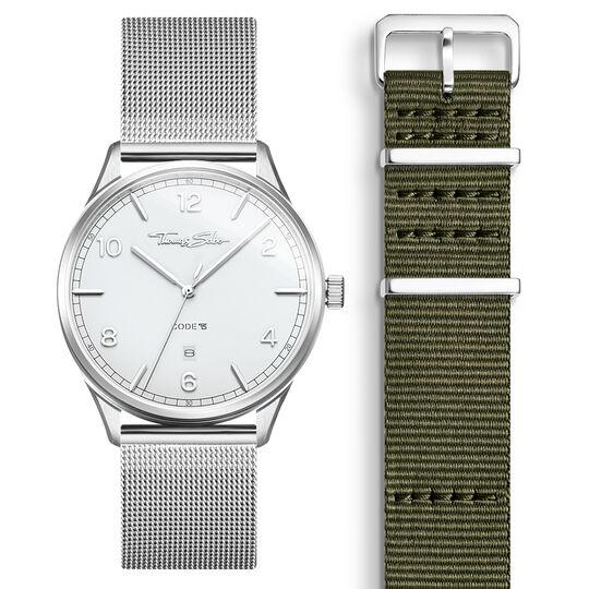 SET CODE TS weiße Uhr & khaki Armband aus der  Kollektion im Online Shop von THOMAS SABO