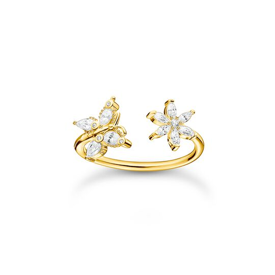 Ring butterfly with flower white stones gold from the Charming Collection collection in the THOMAS SABO online store