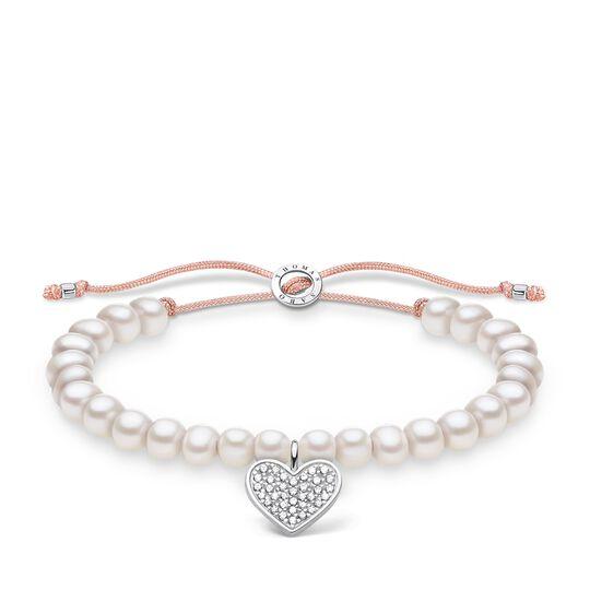 Armband weiße Perlen mit Herz pavé aus der Charming Collection Kollektion im Online Shop von THOMAS SABO