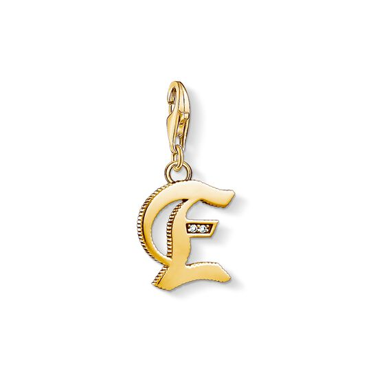 Charm pendant letter E gold from the Charm Club collection in the THOMAS SABO online store