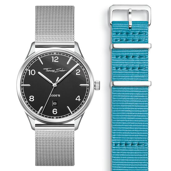 SET CODE TS black watch & turqoise strap from the  collection in the THOMAS SABO online store