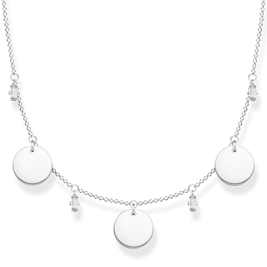 Necklace wih three discs and white stones silver from the Glam & Soul collection in the THOMAS SABO online store