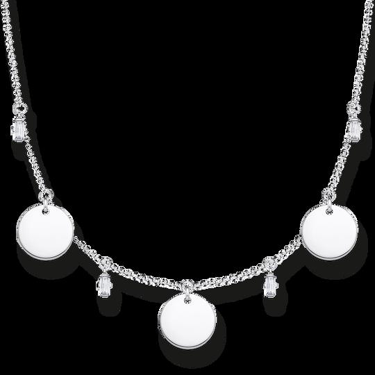 Collier mit drei Coins und weißen Steinen silber  aus der Glam & Soul Kollektion im Online Shop von THOMAS SABO