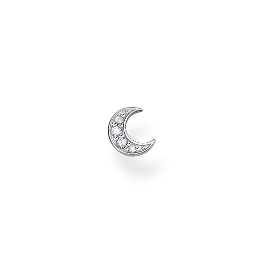 Single ear stud moon pavé silver from the Charming Collection collection in the THOMAS SABO online store