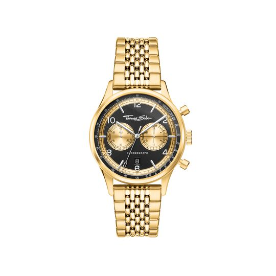 Men's watch Rebel at Heart Chronograph gold black from the  collection in the THOMAS SABO online store