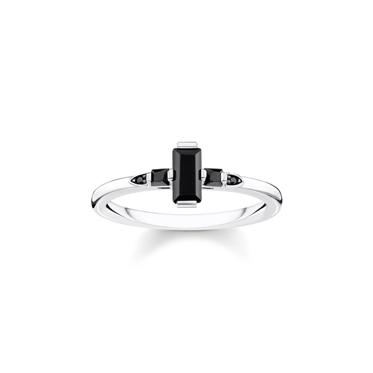 ring Stone baguette cut, black from the Glam & Soul collection in the THOMAS SABO online store