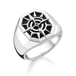 bague boussole noir de la collection Rebel at heart dans la boutique en ligne de THOMAS SABO