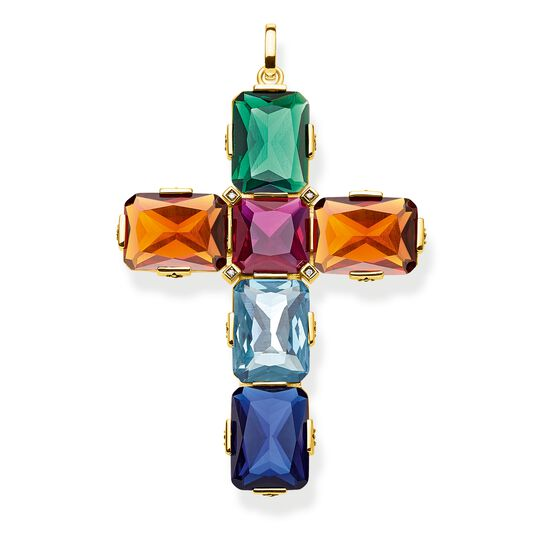 pendant Cross colourful stones, gold, large from the Glam & Soul collection in the THOMAS SABO online store