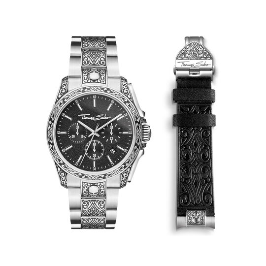 Men's watch Rebel at Heart skull silver black from the  collection in the THOMAS SABO online store