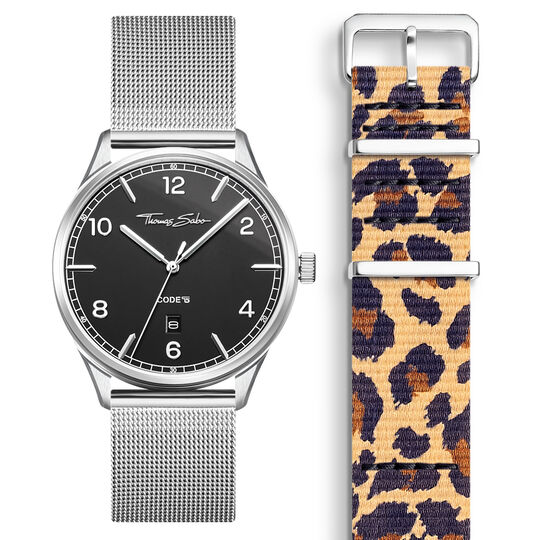 SET CODE TS black watch & Animal Print bracelet from the  collection in the THOMAS SABO online store