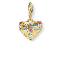 Charm pendant Heart with dragonfly, gold from the Glam & Soul collection in the THOMAS SABO online store