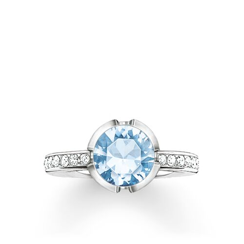 "solitaire ring ""Signature Line light blue pavé small"" from the Glam & Soul collection in the THOMAS SABO online store"