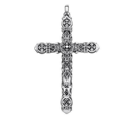 Pendant cross black stones silver from the Rebel at heart collection in the THOMAS SABO online store