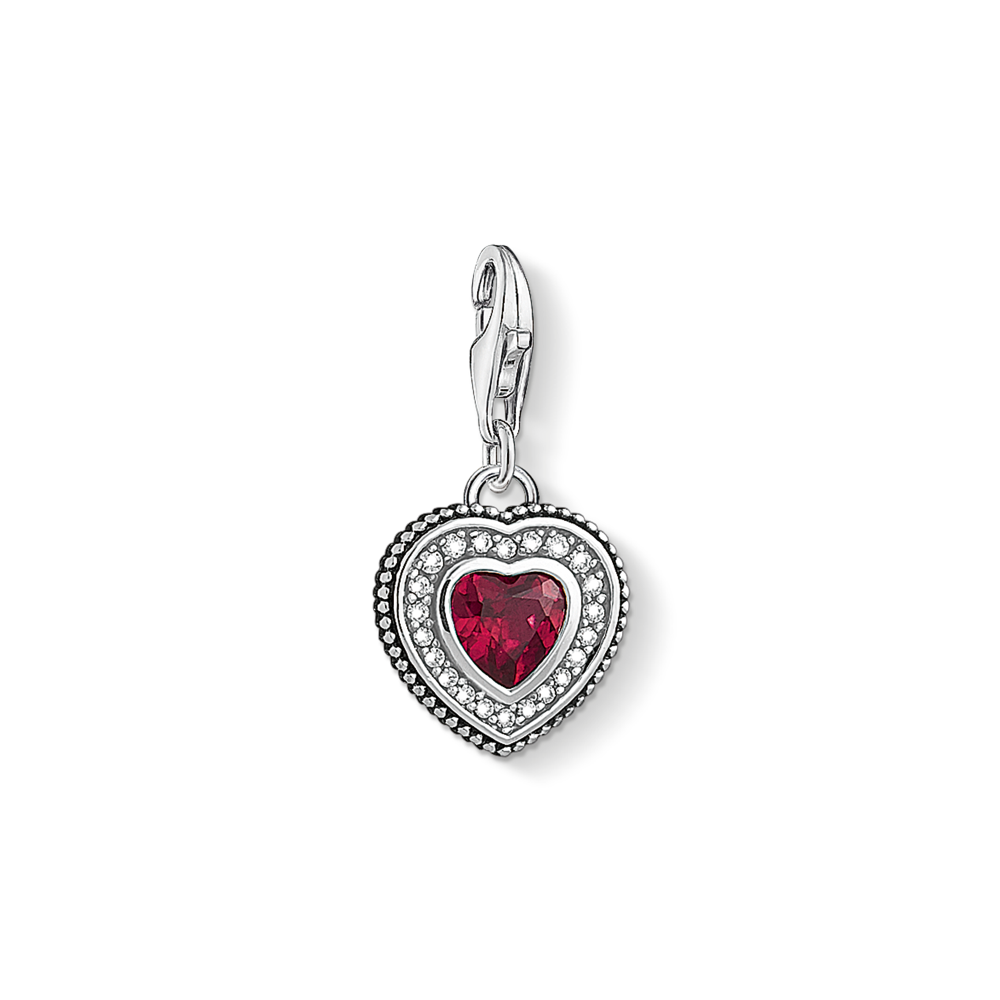 """Thomas Sabo - Charm pendant """"Heart with  stone """" red - 1"""