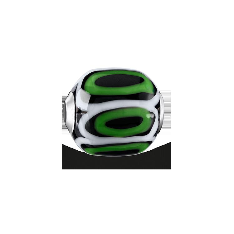 """Thomas Sabo - Bead """"Glass Bead Green, black, white"""" - 1"""